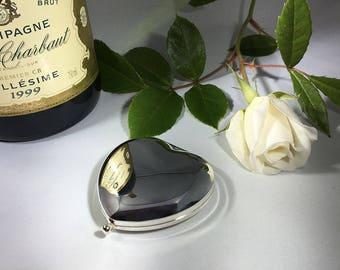 Personalised heart shape handbag mirror in presentation box