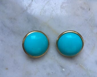 Vintage years ' 80 earrings clips Gold metal and turquoise plastic