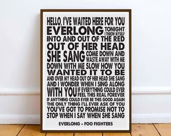 Foo Fighters - Everlong - quote - Lyric Art Typography music Print Poster romance love friendship gift