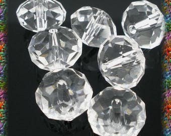 40 10 mm faceted transparent glass beads