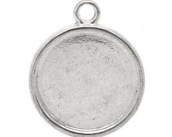 20 antique silver 20 mm round cabochon holders