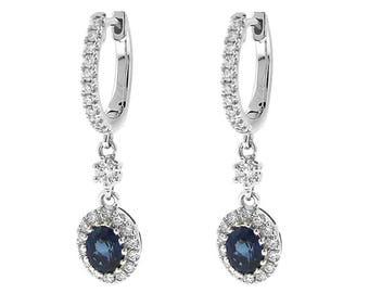 ID: 12053 Dangling Sapphire Hoop Earrings with Diamonds 18k White Gold