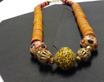 Women's Orange Yellow Vinyl Assorted Krobo Bead necklace With Brass Baoulé Pendants