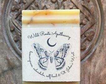 Calendula, St. John's wort, self heal & lemongrass  Organic Soap Bar~