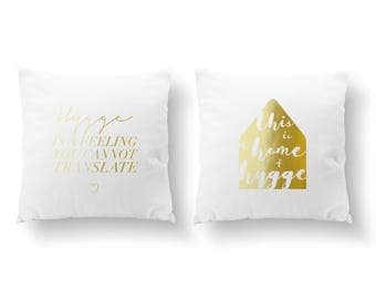 SET of 2 Pillows, Hygge Is A Feeling, This Is A Home Of Hygge Pillow, Livingroom Decor, Throw Pillow, Cushion Cover, Gold Decorative Pillow