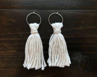 Cream Tassel Hoop Earrings