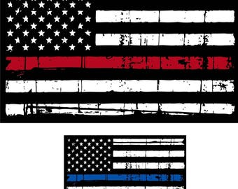 Tattered Police Officer & Firefighter Blue Line Red Line  Decal Sticker