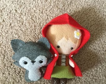 Red Riding Hood and Wolf Felt Ornaments