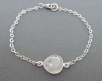 Moonstone Bracelet Sterling Silver/ Small Moonstone Bracelet/ Moonstone Bezel June Birthstone/ White Stone Silver Chain Simple Dainty -GE35