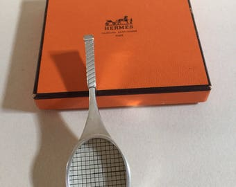 Hermes box pill Hermès tennis racket rare pill box in a tennis racket sulver metal shape