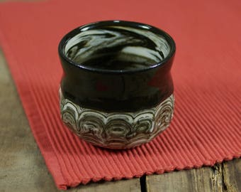 Wheel Thrown Marbled Pottery Cup in Glossy Black and White