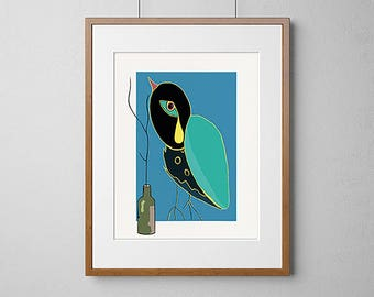 Bird And Bottle | Giclée Print | 308gsm Hahnemühle fine art paper