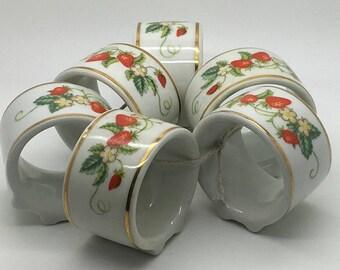 Vintage  Avon Ceramic Napkin Holder Strawberry Gold Trim White Made In Brazil Set Of 6 Tea Party High Tea Formal Table Setting Breakfast