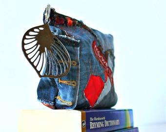 Handmade Denim Bag Pouch case Make up bag Thank you gift Wash bag Pencil case Zipper pouch Small Handbag Purse Toiletry bag Gift for Bride