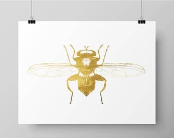 Hand Printed Gold Foil Bee Screen Print - Hoverfly / Insect Design
