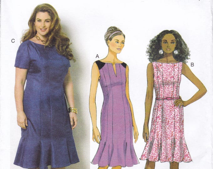 FREE US SHIP Butterick 6032 Gored Dress Godets Sleeve Variations Size 18 20 22 24 Bust 40 42 44 46 Plus Uncut Factory Folded Out of Print