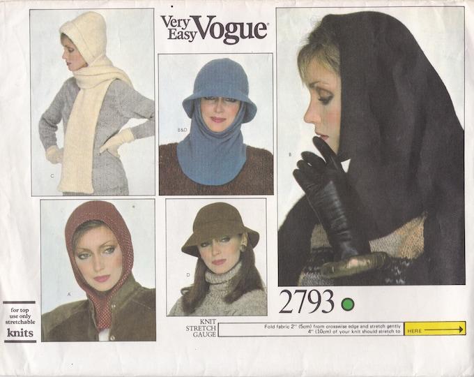 FREE US SHIP Vogue 2793 Vintage Retro 1970s 70s Easy Draped Hood Brim Hat Neck Scarf Uncut Factory Folded
