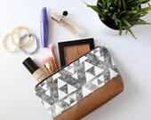 Gray & White Small Geometric Makeup Bag, Waterproof Cosmetic Bag, White Makeup Bag, Gray and White Travel Bag
