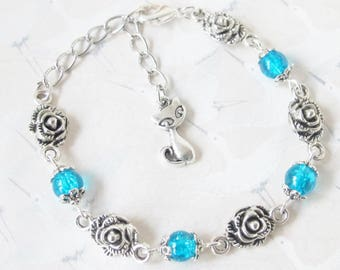 Bracelet silver cat and Blue Pearl Jewelry bracelet with a cat, kitten, animal jewelry, gift, cat