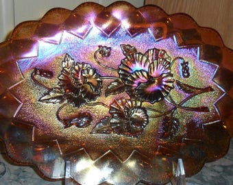 Antique Imperial Carnival Glass Amber ''PANSY'' Dresser Tray - Vintage Art Glass - Collectible Iridized Glass(483)