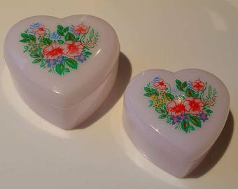 Vintage, nesting heart shared trinket boxes - 80's