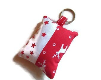 Keychains fabric jewelry bag, Christmas, reindeer, stars, red white