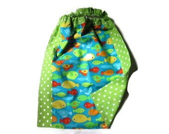 towel canteen, nursery, kids table, fish, peas, multicolor, green elastic