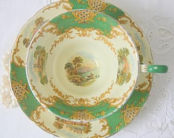 Vintage Grosvenor 'Windsor' Teacup and Saucer, Green Panels and Landscape Decor, England