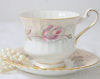 Vintage Paragon Lady Size Cup and Saucer, White and Salmon Pink, Pink Rose Decor, England