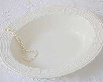 Hard to Find Vintage Wedgwood 'Willow Weave' Porcelain Oval Serving Bowl, England