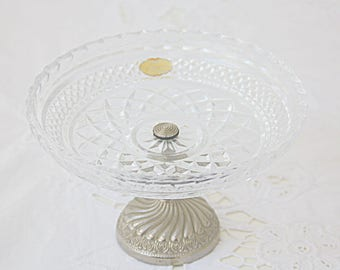 Vintage Crystal Candy Dish, 'Echt Bleikristall Gepresst', Silver Color Metal Foot, Germany