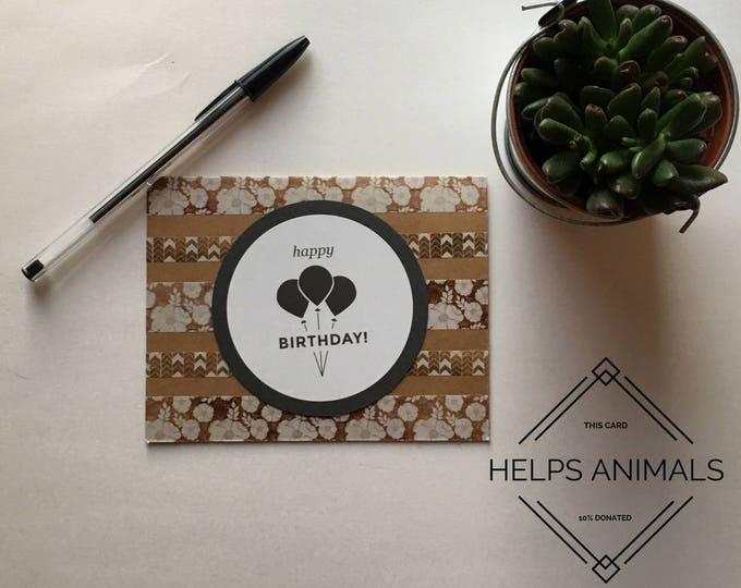 Rustic Birthday Card, Floral Birthday Card, Neutral Birthday Card