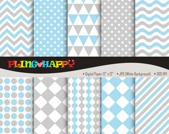 70% OFF Gray And Blue Digital Papers, Chevron/Polka Dot/Wave/Stripe Pattern Graphics, Personal & Small Commercial Use, Instant Download