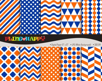 70% OFF Orange And Navy Blue Digital Papers, Chevron/Polka Dot/Wave/Stripe Graphics, Personal & Small Commercial Use, Instant Download