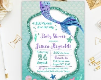 Mermaid Baby Shower Invitation, Under the Sea Invitation, Mermaid Invitation, Little Mermaid Shower Invitation Printable