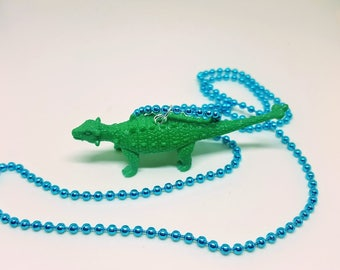 Dinosaur Necklace Blue Ball Chain Green Dinosaur Jewelry Gifts 5 and Under
