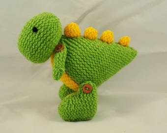 Dinosaur toy T Rex dino dragon soft toy hand knit knitted crochet cute cuddly photo prop stuffed animal plush gift baby shower Waldorf toy