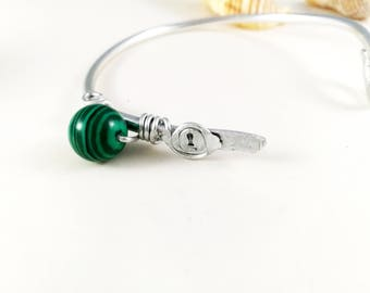 Adjustable Boho aluminum malachite bracelet for her Wired aluminum bracelet adjustment for her