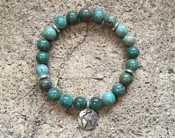 Dragon Blood Jasper Japa Mala Bracelet, Earth Charm, Yoga Mala Bracelet, Yoga Jewelry, Meditation, Gemstone Power beads, Hand Mala, Bohemian