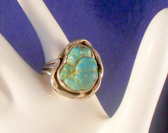 Ring Navajo Sterling Silver Seafoam Turquoise Size 8.5 Freeform Turquoise Nugget Southwestern Jewelry