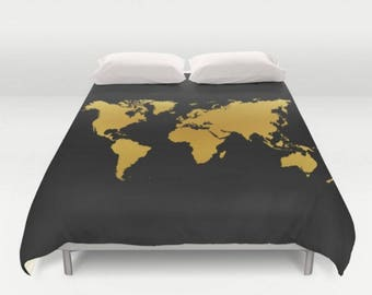 Gold black bed cover etsy black gold map duvet cover world map gold twin full queen king bedspread hipster bedding dorm gumiabroncs Image collections