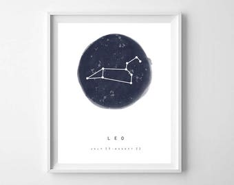Leo Star Sign, PRINTABLE ART, Leo Zodiac Printable, Leo Constellation, Zodiac Constellation Print, Star Chart, Astrology Print, Zodiac Print