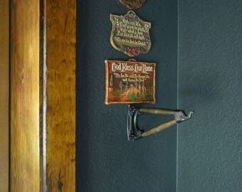 Antique Wall Hook | Wood and Metal Hook 90 Degree Turn left or Right | Vintage Hanging Wall Hook