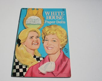 Vintage White House Paper Doll Booklet, 60s 1960s Uncut Cutouts Paper Dolls Book