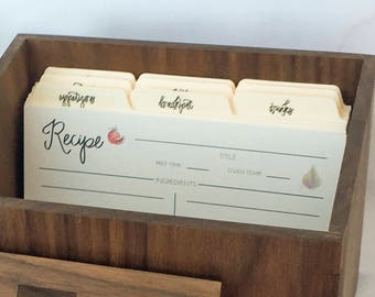 "Recipe Card Dividers - hand lettered 4"" x 6"" dividers for recipe cards - recipe dividers - recipe index dividers"