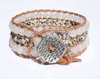 Leather Wrap Cuff Bracelet, Leather Jewelry, Leather Wrap Bracelet for Women, Pink Wrap Bracelet Rose Quartz Stone Bracelet Bohemian Jewelry