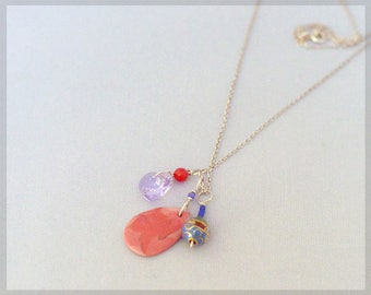 no.135 Porcelain Pendant Necklace - Porcelain Flower pendant with Swarovski crystals