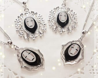 No-face necklace silver-Spirited Away-UV resin charm Bezel