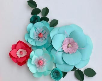 Paper flowers turquoise wall decor baby girl nursery mint green nursery wall coral decor kid room decor turquoise backdrop coral flower wall