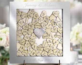 Personalized Mirror Wedding Guestbook Laser Cut, Square Wedding Heart Drop Box Guestbook